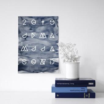na.hili 2019 KALENDER Geometrical ABC - 50x70 Aquarell blau &b schwarz, schwarz / weiß - Poster