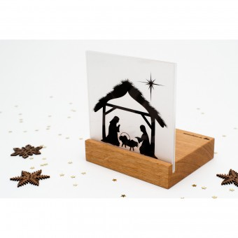 klotzaufklotz Weihnachtskrippe Mini Bethlehem Holz (Eiche)