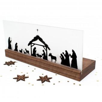 klotzaufklotz Weihnachtskrippe Bethlehem Holz (Nussbaum)