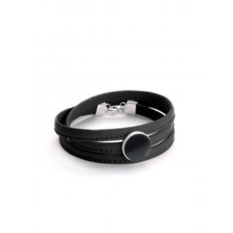 """Eva Slotta Jewellery """"Tint Deep"""" Armband mit schwarzem  Nappaleder und Hämatit, 925 Silber"""