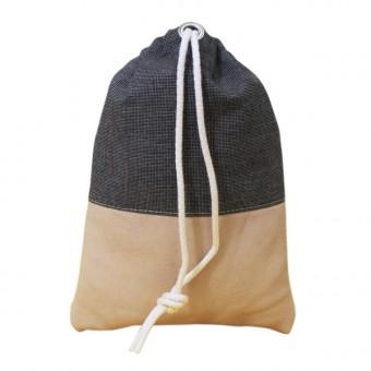 alvaGold Leni Recyclingtasche  aus wiederverwendetem Markisentuch/Leder (schwarz)