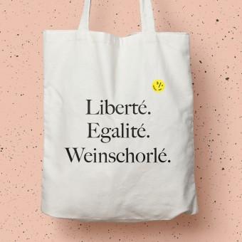 """Baumwolltasche """"Liberté Egalité Weinschorlé"""" – Das Original 2.0"""