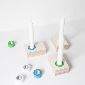 fein & raum Kerzenständer Lilli - 3 weiß/blau/grün