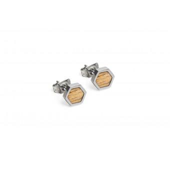 BeWooden Ohrringe, Ohrstecker mit Holzdetail - Lini Earrings Hexagon