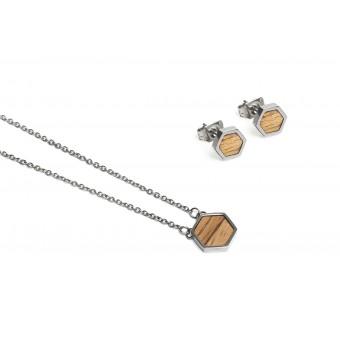 BeWooden Halskette & Ohrringe Set - Lini Hexagon Set