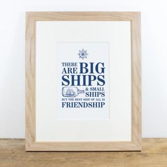 Bow & Hummingbird Bild mit Echtholzrahmen - Friendship