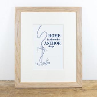 Bow & Hummingbird Bild mit Echtholzrahmen - Home is ...