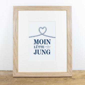 Bow & Hummingbird Bild mit Echtholzrahmen - Moin lütte Jung
