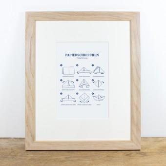 Bow & Hummingbird Bild mit Echtholzrahmen - Papierschiffchen