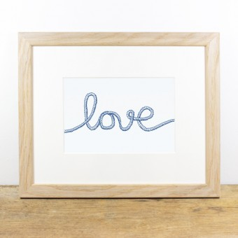 Bow & Hummingbird Bild mit Echtholzrahmen - Love