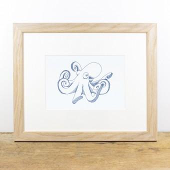 Bow & Hummingbird Bild mit Echtholzrahmen - Tintenfisch