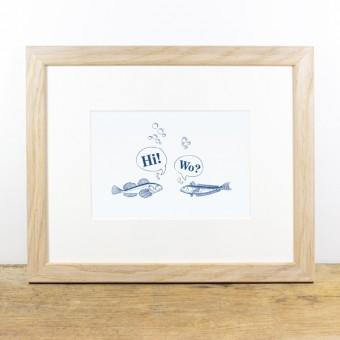 Bow & Hummingbird Bild mit Echtholzrahmen - Treffen sich 2 Fische