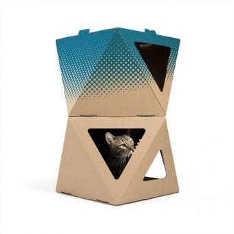 meezee Katzenkarton NOOK double - nature/dots petrol
