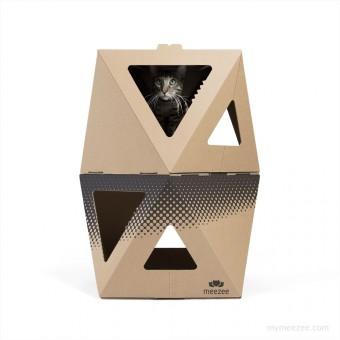 meezee Katzenkarton NOOK double - nature/dots black