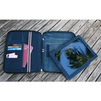 mineD BIG BLIND - iPad Hülle Cover Tasche aus Jeans - BLAU