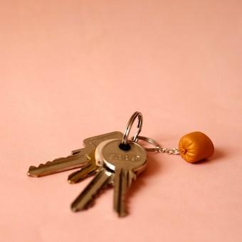 """minischmidt miniWURST Schlüsselring """"Leberwurst"""""""