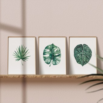 "Paperlandscape | 3er Set Aquarell Kunstdrucke ""Palmblätter"" | Pflanze | Palmblatt | verschiedene Größen"