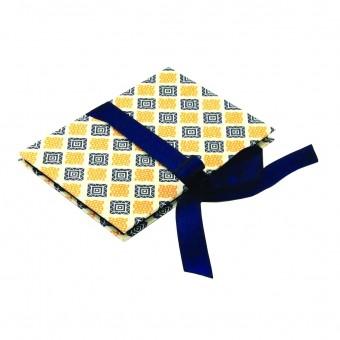 Nauli Leporello karo blau gelb, kleines Fotoalbum