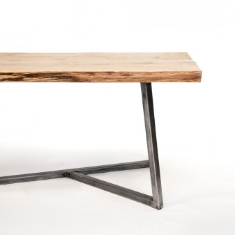 NUTSANDWOODS Oak Steel Table