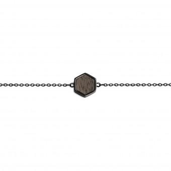 BeWooden Handkette mit Holzdetail - Apis Nox Hexagon Bracelet