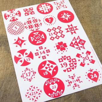 Bow & Hummingbird Adventskalender Aufkleber Rot/Weiß