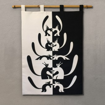 Print now - Riot later ● Nusskumpel Wandbehang, Stoffsiebdruck