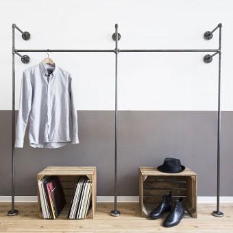 Industrial Design Garderobe & offenes Kleiderschranksystem - Kleiderständer für Wandmontage aus Wasserrohr DUO HIGH - 2,50m Breite (Sonderanfertigung)