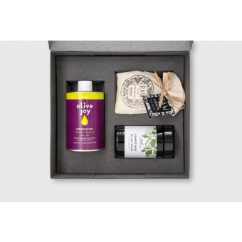Hochwertiges pure joy Geschenkset Salz Pfeffer und Olivenöl von olive joy - Koroneiki Box