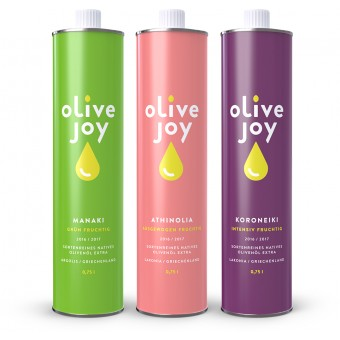 3 sortenreine Olivenöle von olive joy im Set (3 x 750ml)
