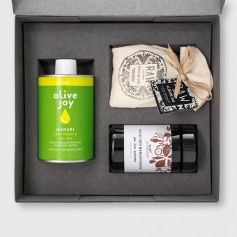 Hochwertiges pure joy Geschenkset Salz Pfeffer und Olivenöl von olive joy - Manaki Box