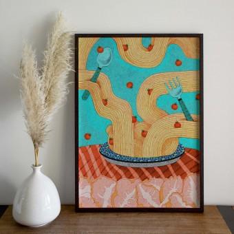 formwiese »Pasta« (nachhaltiges A3 Poster, Graspapier, Illustration)