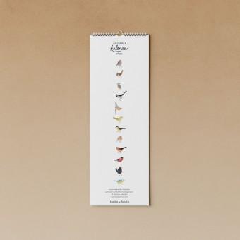 tucán y limón – Geburtstagskalender Vögel / Aquarell / 100% Recyclingpapier / A4 halb