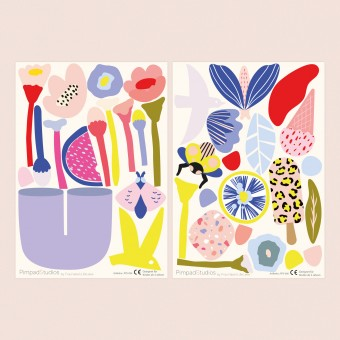 """Pimpad Sticker Set """"Spring/Summer"""" (2 Bögen Aufkleber, umweltfreundlich, wiederverwendbar, DIY)"""