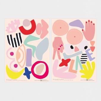 """Pimpad Sticker Set """"Body"""" (2 Bögen Aufkleber, umweltfreundlich, wiederverwendbar, DIY)"""