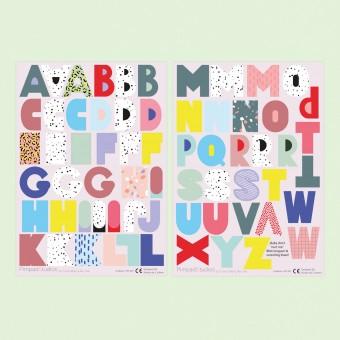 """Pimpad Sticker Set """"ABC"""" (2 Bögen Aufkleber, umweltfreundlich, wiederverwendbar, DIY)"""