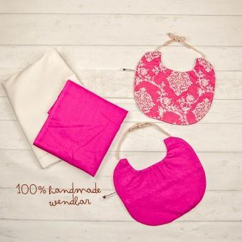 hasenkinder - wendbares Lätzchen Set pink 23x19 cm (ohne Deko)