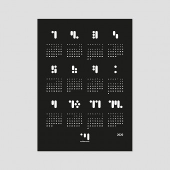 punktkommastrich - kalender 2020 black Designwandkalender