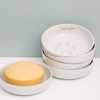 feinesweißes – Seifenschale Porzellan mit Schriftzug in gold oder rot