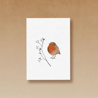tucán y limón – Rotkelchen / Aquarell Postkarte A6 (5er-Set)