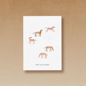 tucán y limón – Takhi Wildpferde / Happy Wild Birthday / Aquarell Postkarte A6 (5er-Set)