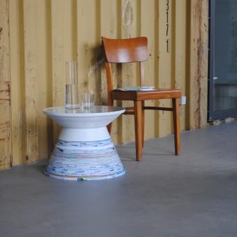 """Gompf & Kehrer Beistelltisch """"Paper Table'"""" (white2blue)"""