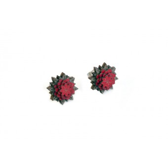 BeWooden Ohringe - Ohrstecker mit Holzdetail - Motiv Blume - Red Flower Earrings