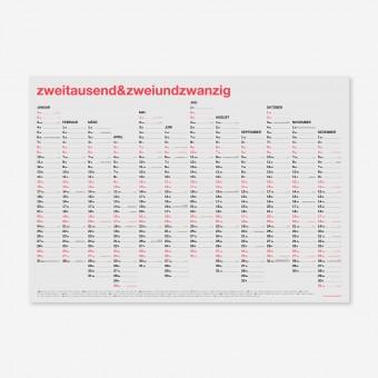 zweitausend&zweiundzwanzig - A2 Wandkalender 2022 - Neon-Korall Schwarz Gold