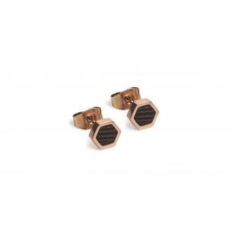 BeWooden Ohrringe - Ohrstecker mit Holzdetail - Rose Earrings Hexagon