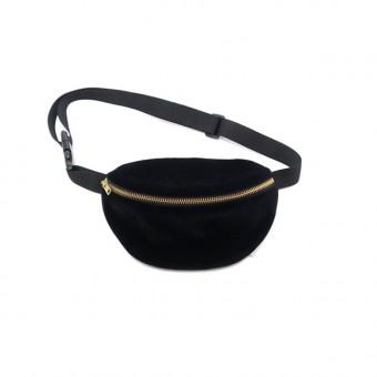 FINSTER hipbag black velvet gold