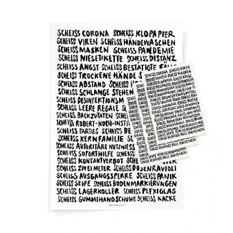 Wolfgang Philippi SCHEISS CORONA PAKET (1 Plakat und 3 Karten)