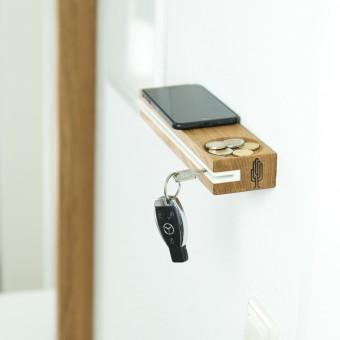Schlüsselbrett slosilo, Design Schlüsselbrett aus Holz mit Ablage | Holzbutiq