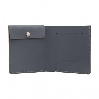 Faltbare Brieftasche mit Münzfach in grau - aus premium pflanzlich gegerbtem Ziegenleder