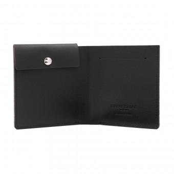 Faltbare Brieftasche mit Münzfach in schwarz - aus premium pflanzlich gegerbtem Leder