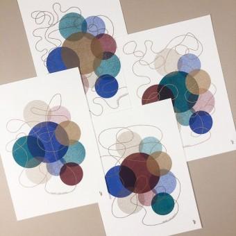 4er-Set HAPPY HOLIDAYS – Din A5-Karten, vierfarbige Risografie